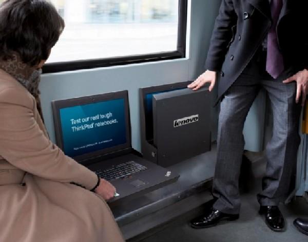 Lenovo thinkpad ambient marketing bus navette ordinateur portable laptop alternatif