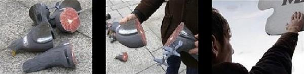 billboard outdoor venividi allemagne blade lame cutter pigeon meteorite meteor bird affichage alternatif XXL 2